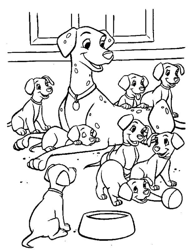 Раскраска Много щенков, большая собака. Скачать 101 далматинец.  Распечатать 101 далматинец