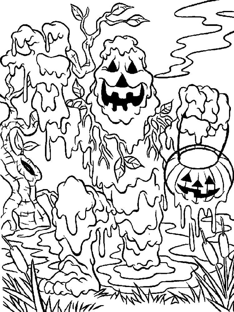 Раскраска Монстры увлекательные  для детей. Скачать монстр.  Распечатать Хэллоуин