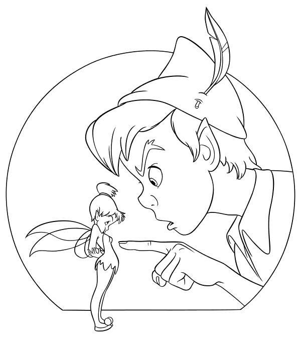 Раскраска  - Питер Пэн - Питер Пэн недоволен Динь-Динь. Скачать Питер Пэн.  Распечатать Питер Пэн