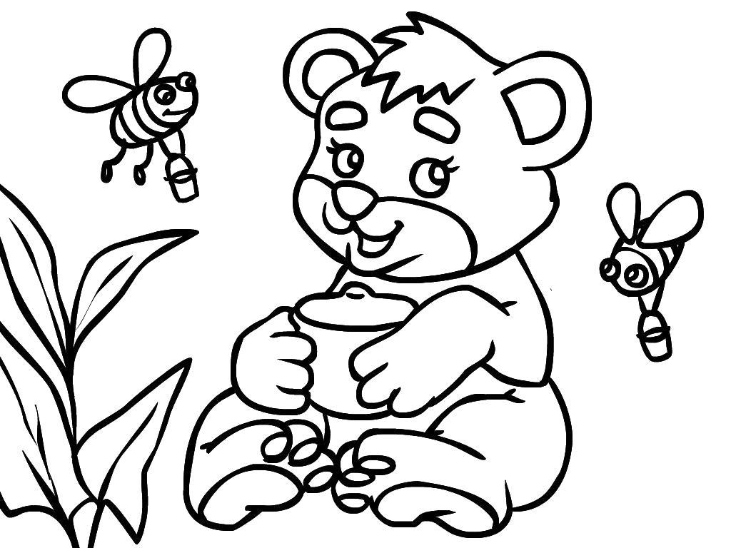 Раскраска Мишка и пчелки. Скачать Мишка.  Распечатать Мишка