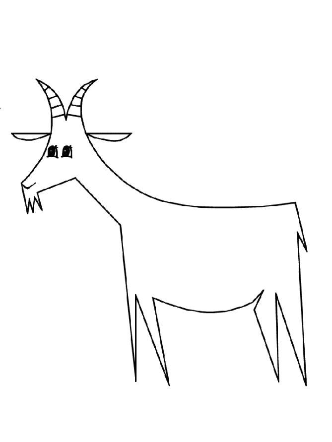 Раскраска Разукрашка Козочка. Скачать Коза.  Распечатать Домашние животные