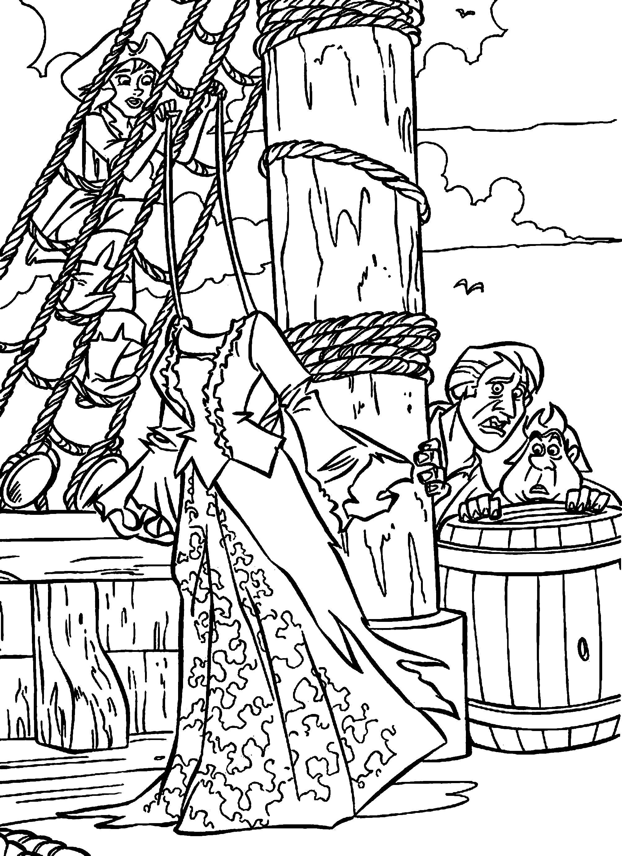 Раскраска  про пиратов. Скачать Пират.  Распечатать Пират