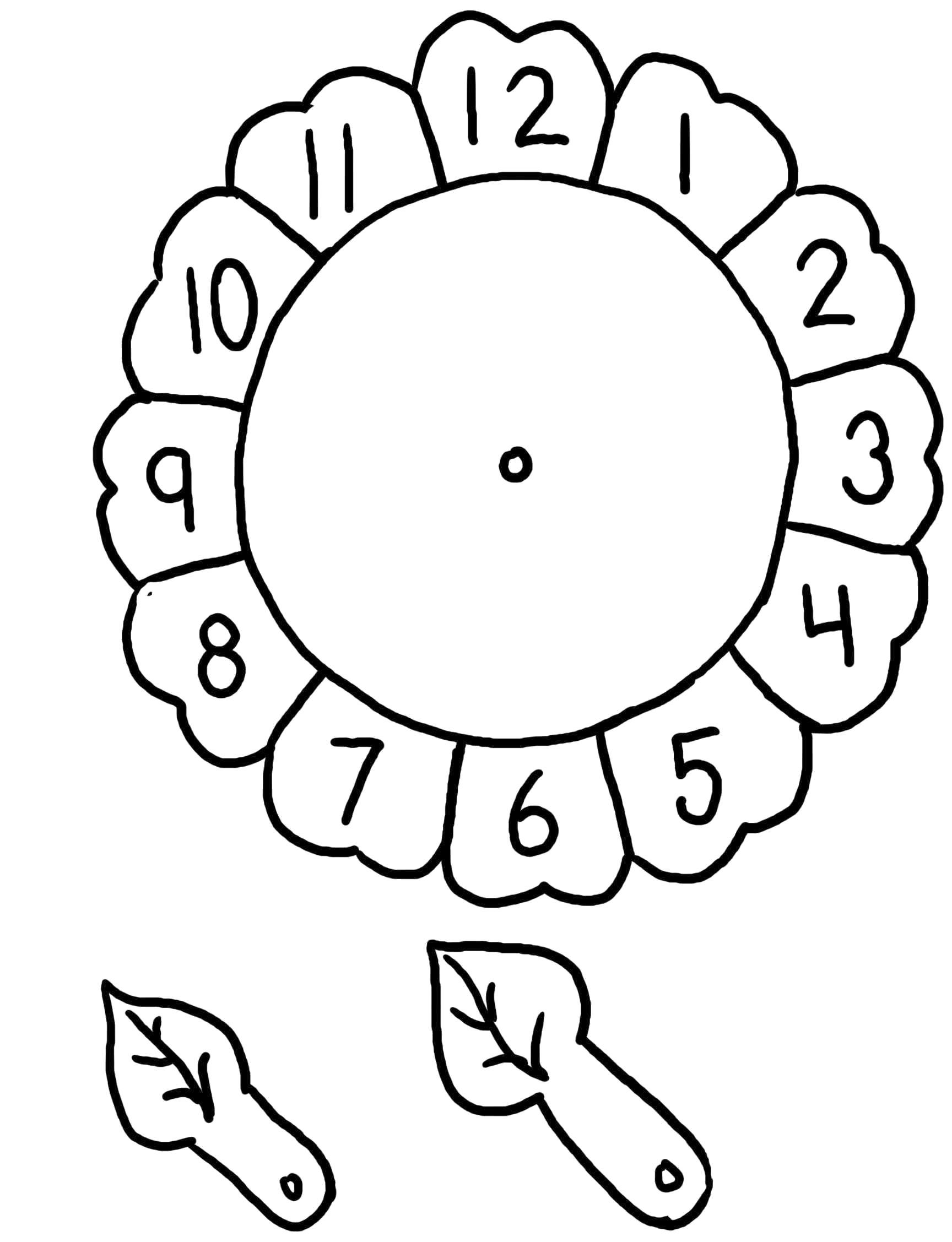 Раскраска Часы из тарелки - поделка своими руками. Поделка, трафарет для вырезания. Скачать Часы.  Распечатать Часы