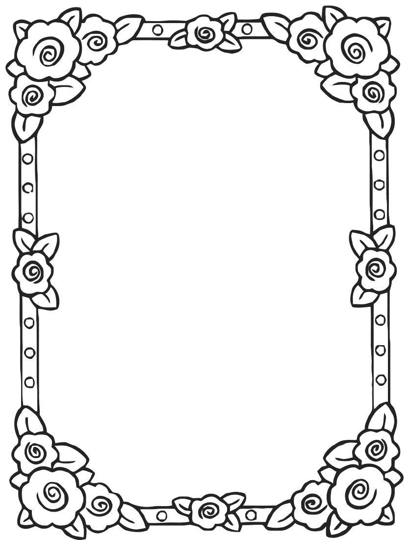 Раскраска рамка с цветочками. Скачать .  Распечатать