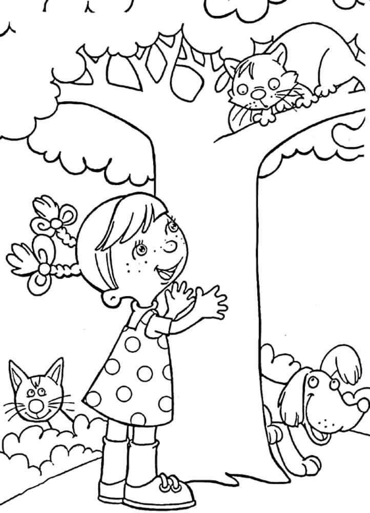 Раскраска  лето. Девочка спасает кота. Скачать Лето.  Распечатать Лето