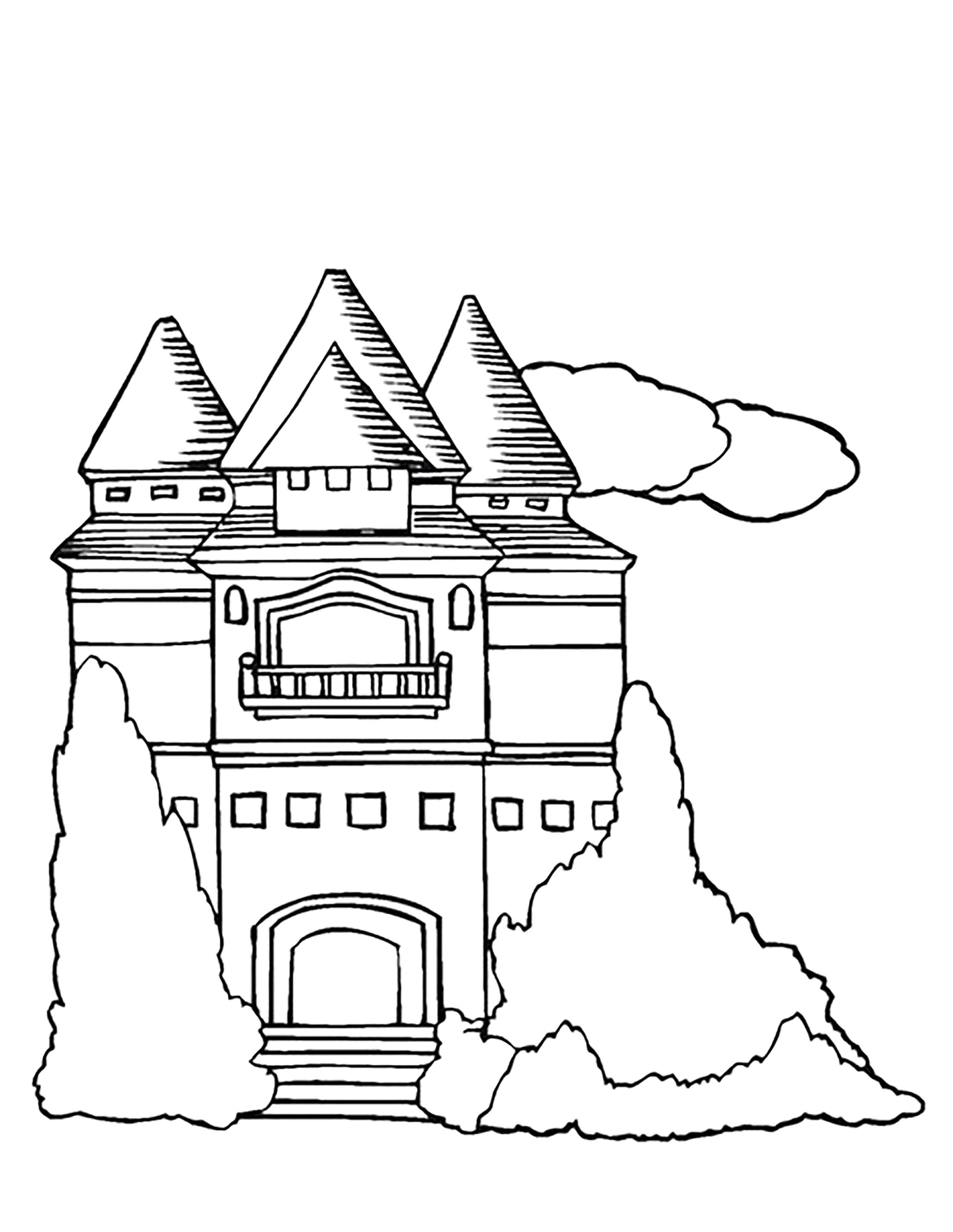 Раскраска  замок. Скачать Замок.  Распечатать Замок