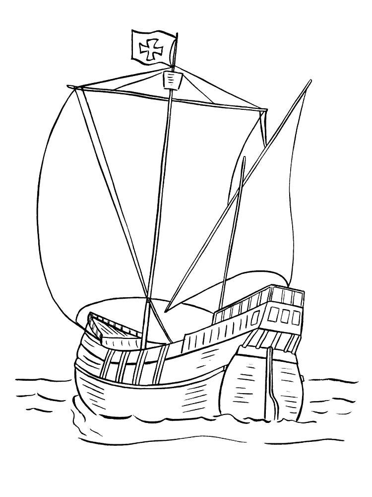 Раскраска Морской корабль. Скачать корабли.  Распечатать корабли