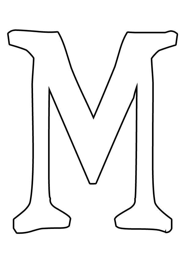 Раскраска Буквы из бумаги буква м трафарет для детского творчества. Скачать Трафарет.  Распечатать Трафарет