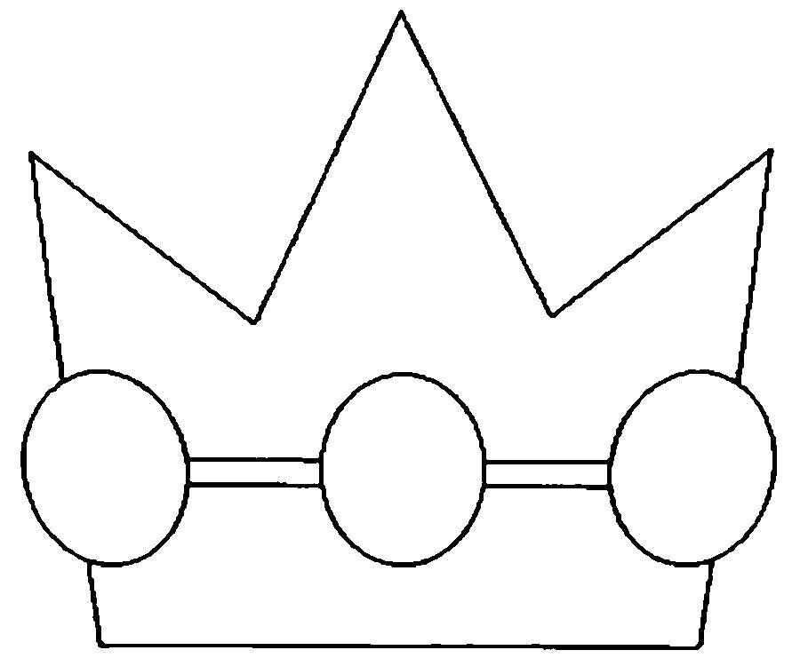 Раскраска  Корона  корона для мальчика, шаблон из бумаги. Скачать Шаблон.  Распечатать Шаблон