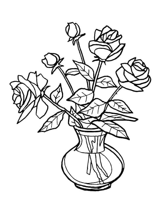Раскраска Ваза с розами. Скачать Цветок.  Распечатать Цветок