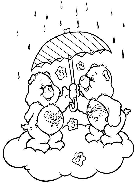 Раскраска Мишки Гамми и дождь. Скачать дождь.  Распечатать дождь