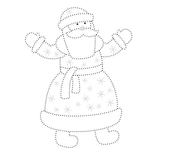 Раскраска Дедушка Мороз. Скачать по точкам.  Распечатать по точкам