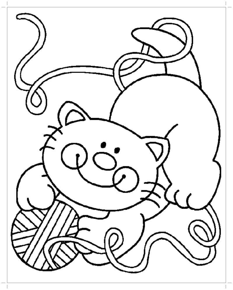 Раскраска  кошки и котята. Скачать Котенок.  Распечатать Домашние животные
