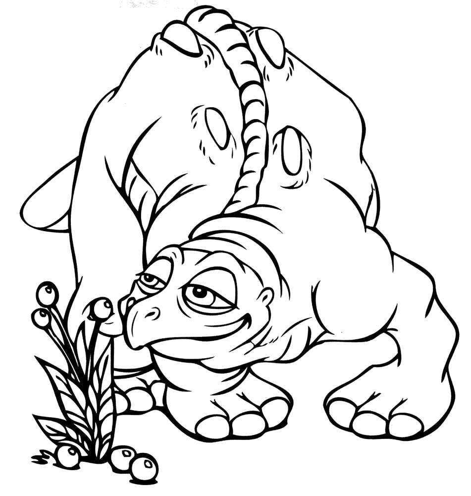 Раскраска Динозаврик любит цветочки. Скачать Цветы.  Распечатать Цветы