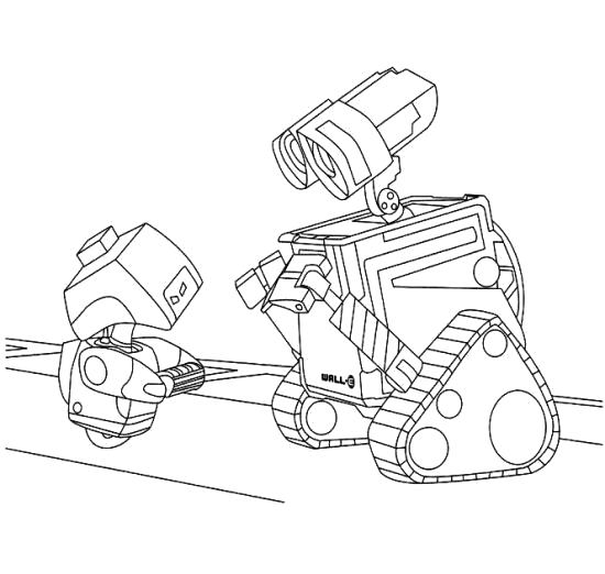 Раскраска два робота. Скачать Робот.  Распечатать Робот