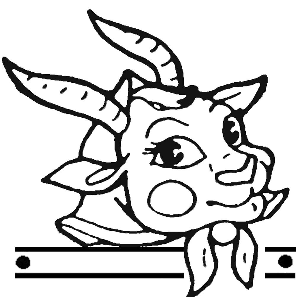 Раскраска Козочка в косыночке. Скачать Коза.  Распечатать Домашние животные