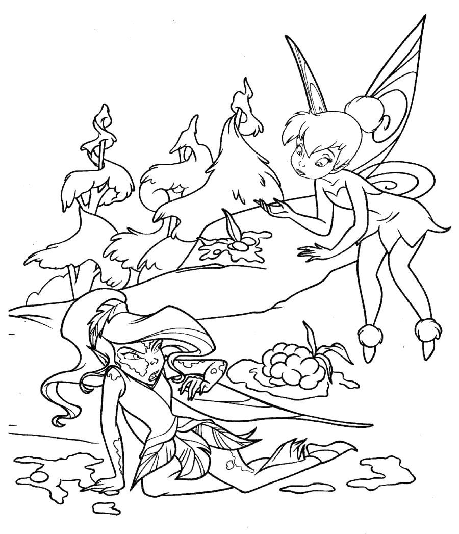 Раскраска Фея Видия в луже -. Скачать фея.  Распечатать мифические существа