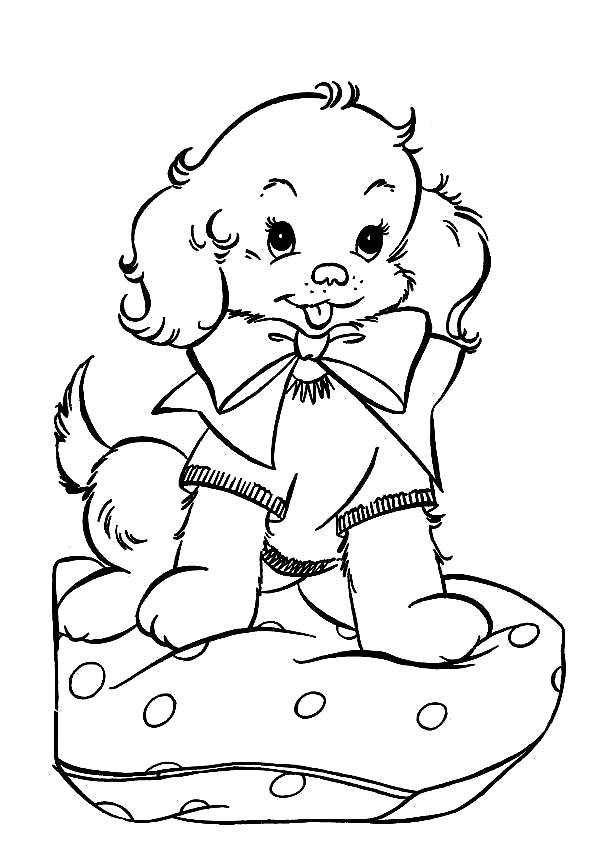 Раскраска Милый щенок. Скачать Собаки.  Распечатать Собаки