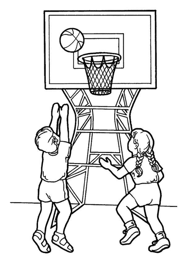 Раскраска Друзья играют в баскетбол. Скачать .  Распечатать