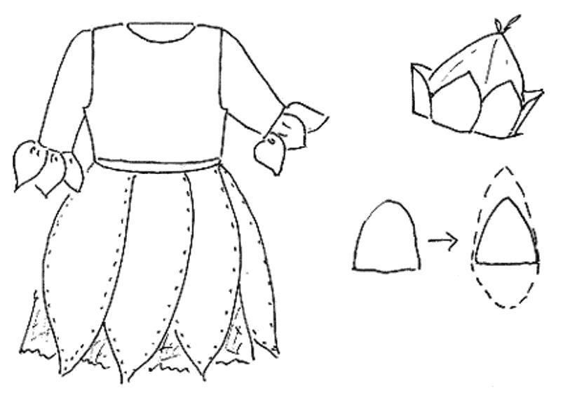 Раскраска платье из бумаги . Скачать платье.  Распечатать платье
