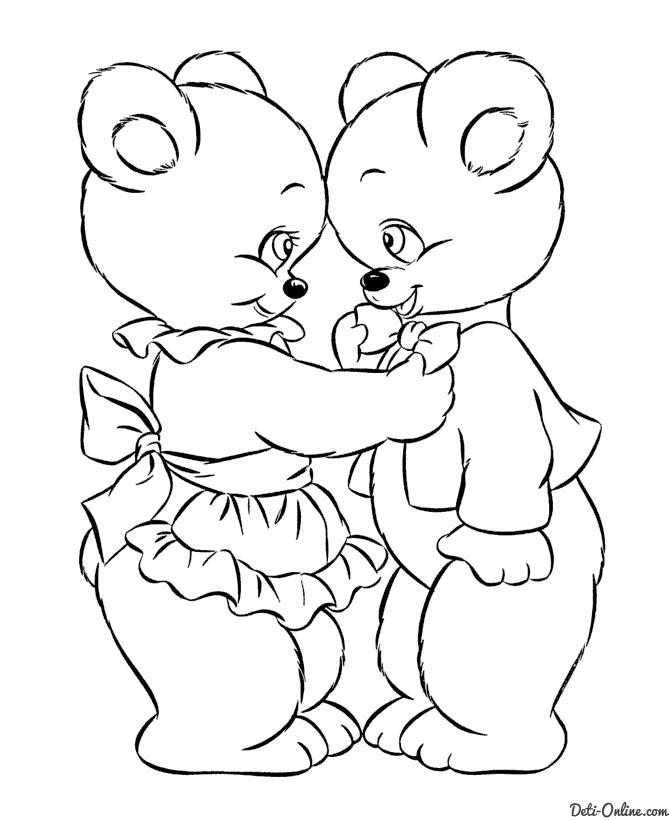 Раскраска  Медвежата на День всех влюблённых. Скачать день Святого Валентина.  Распечатать день Святого Валентина