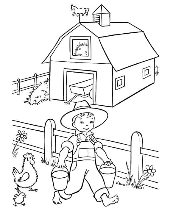 Раскраска Мальчик на ферме. Скачать .  Распечатать