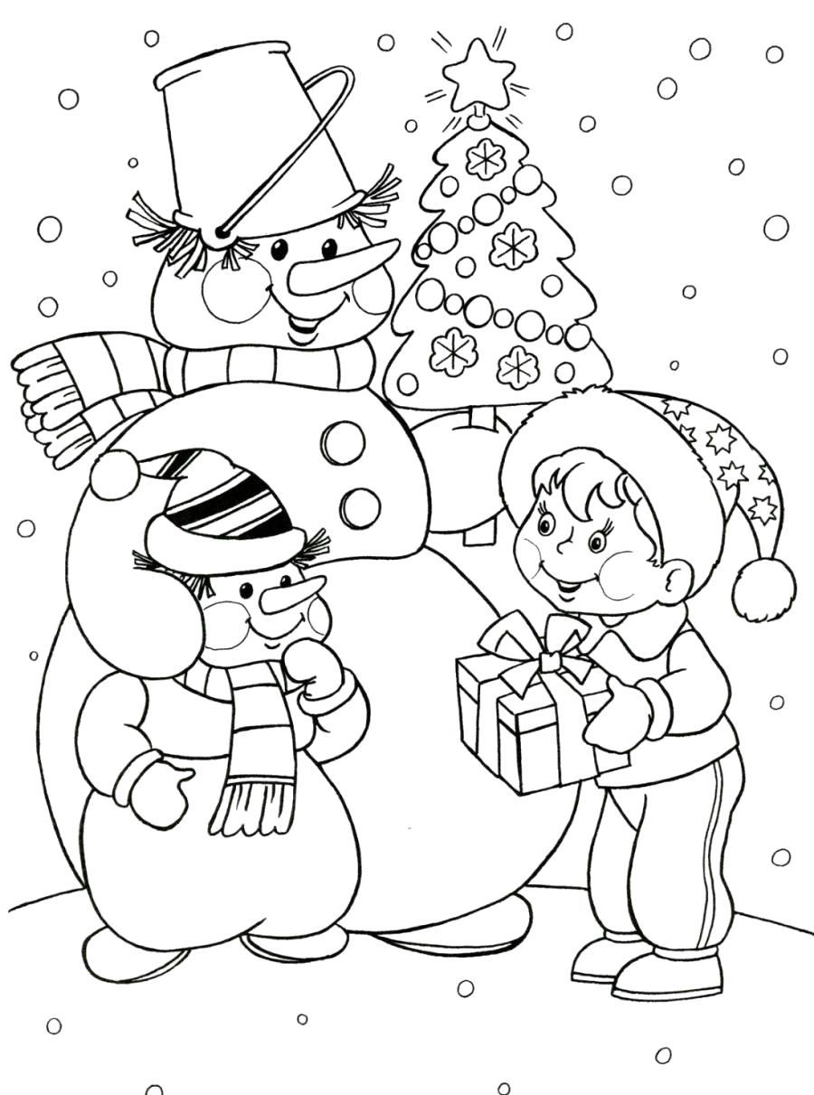 Раскраска Снеговик со снеговенком и мальчик - . Скачать снеговик.  Распечатать снеговик