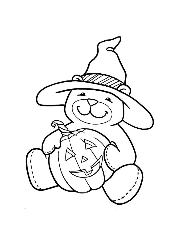 Раскраска Хэллоуин. Скачать Тедди.  Распечатать Тедди