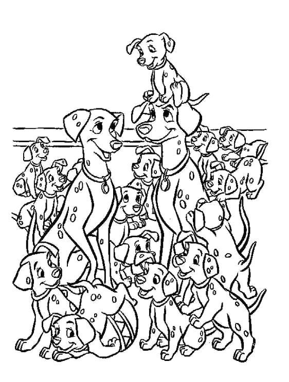 Раскраска  для детей - 101 далматинец, много собак. Скачать 101 далматинец.  Распечатать 101 далматинец