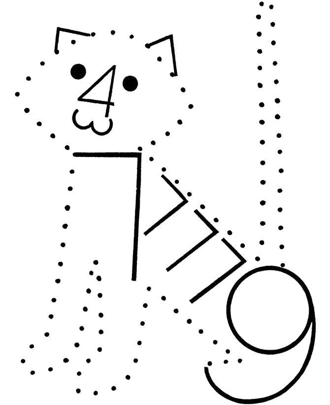 Раскраска   по точкам Кота. Скачать по точкам.  Распечатать по точкам