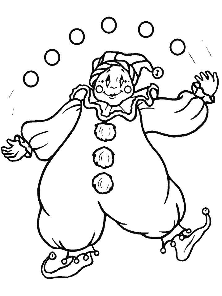 Раскраска  Клоун-жанглер. Скачать клоун.  Распечатать клоун