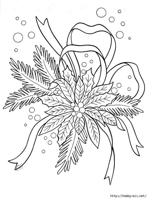 Раскраска Новогоднее, веточка дерева с бантиком. Скачать новогодние.  Распечатать новогодние