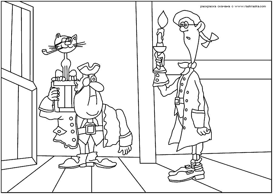 Раскраска  Джим Хоккинс.  Джим и пират, раскраки Остров сокровищ, детские разукраски из мультфильмов. Скачать Пират.  Распечатать Пират