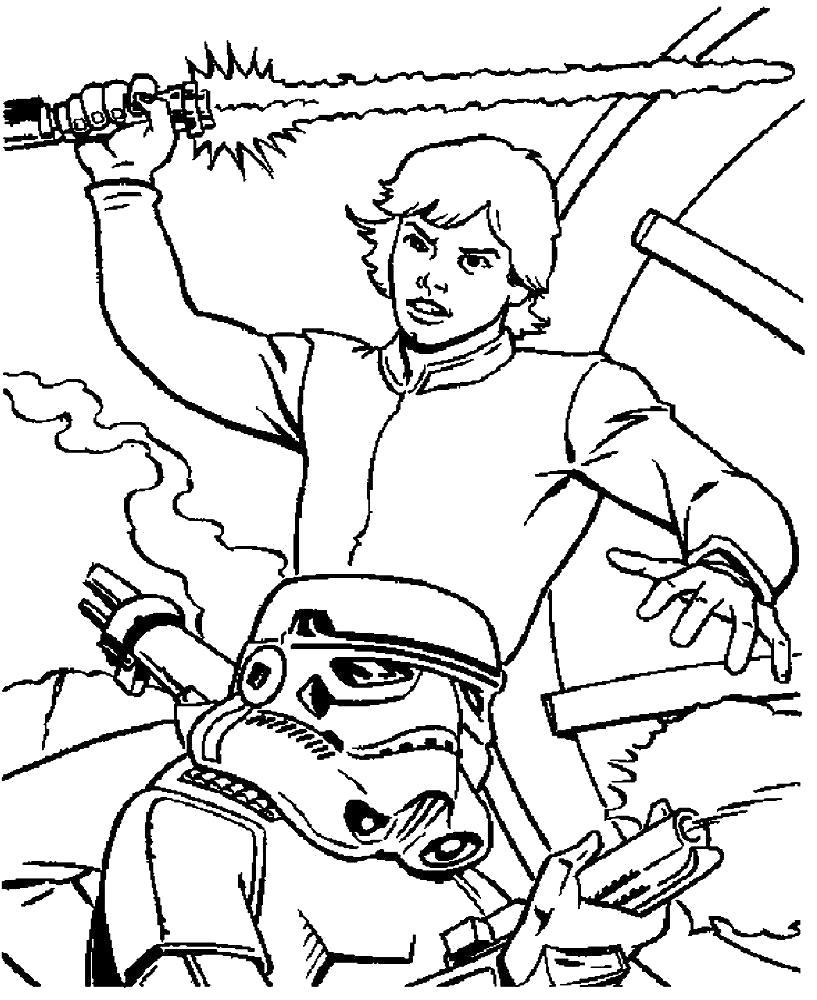 Раскраска Детские  звездные войны. Скачать Звездные войны.  Распечатать Звездные войны