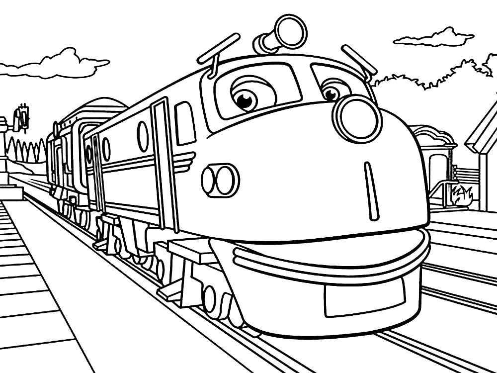 Раскраска Чаггингтон . Скачать поезд.  Распечатать для мальчиков