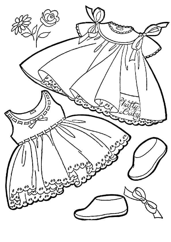 Раскраска Наряд для девочки. Скачать платье.  Распечатать платье