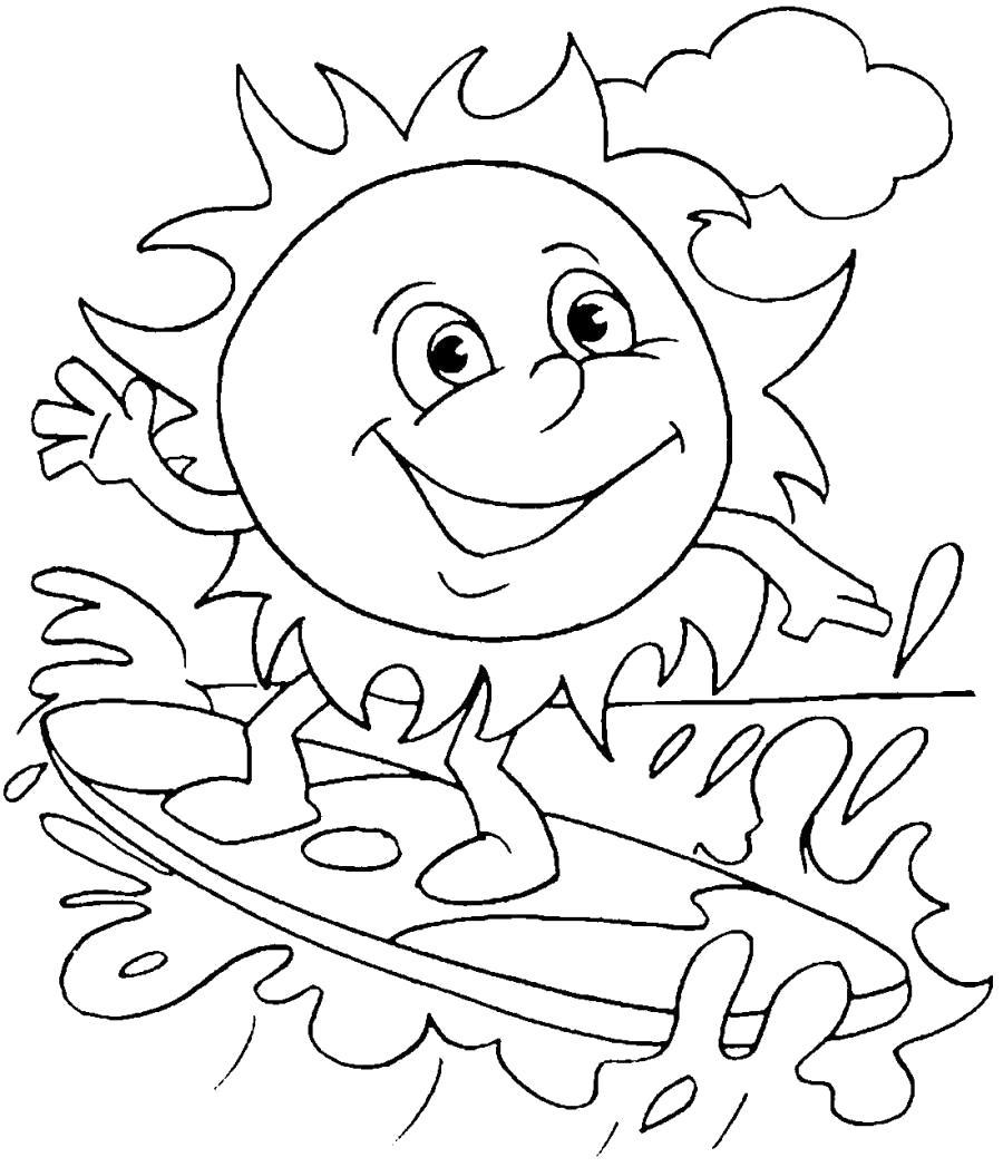 Раскраска Солнышко катается на доске . Скачать Солнышко.  Распечатать Солнышко