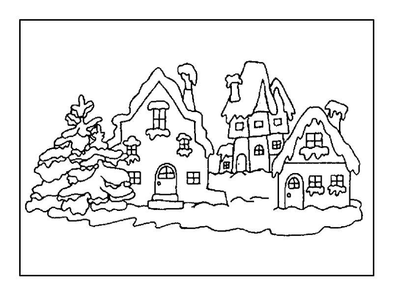 Раскраска  домики, дома, зимний домик, дом и снег, сказочные дома. Скачать Дом.  Распечатать Дом