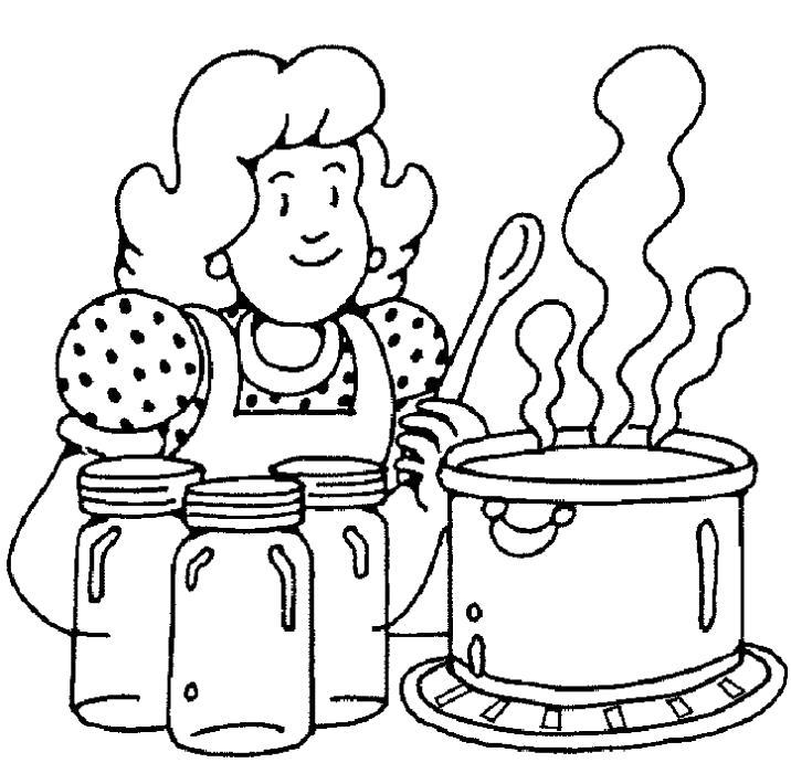 Раскраска Мама готовит суп. Скачать .  Распечатать