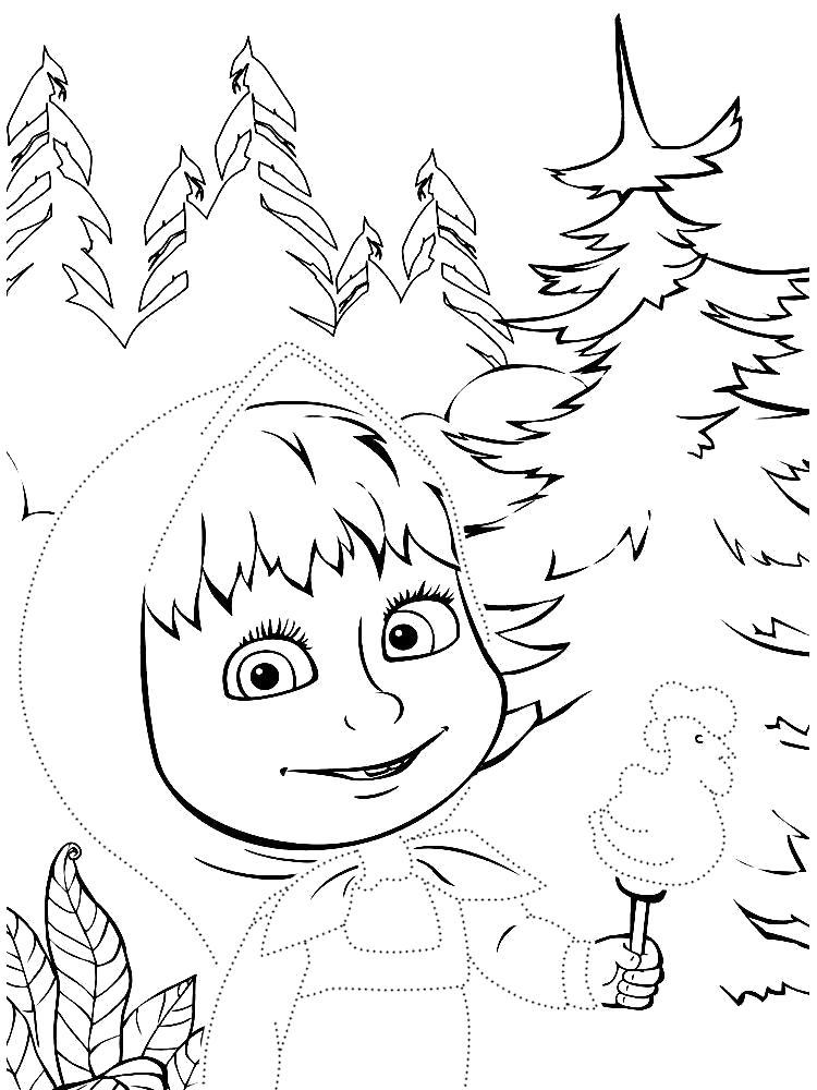 Раскраска Обвести по точкам рисунки с Маша и Медведем и раскрасить их. Скачать по точкам.  Распечатать по точкам