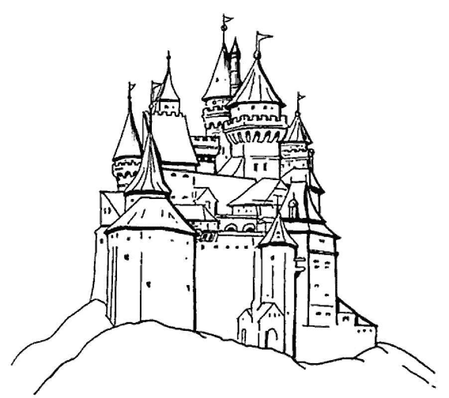 Раскраска замок на горе. Скачать Замок.  Распечатать Замок