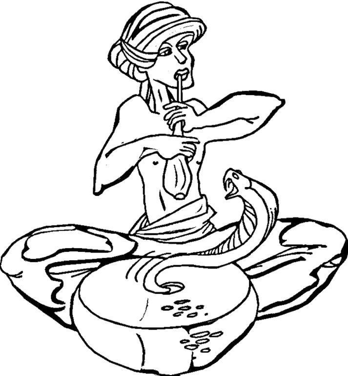 Раскраска кобра, , колдун играет на трубе. Скачать Кобра.  Распечатать Кобра