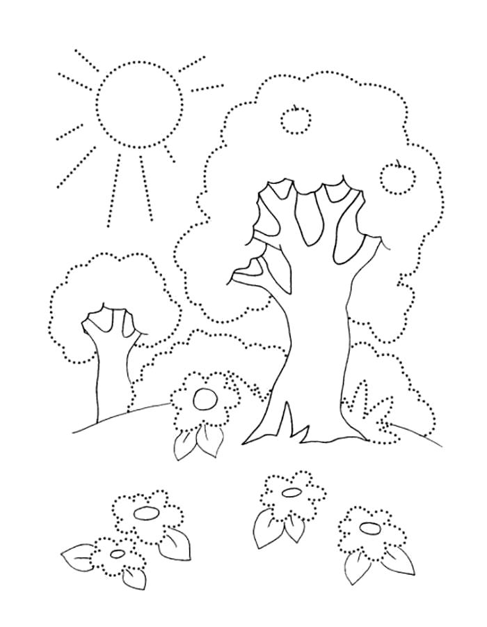 Раскраска солнце, деревья, лето, . Скачать Лето.  Распечатать Лето