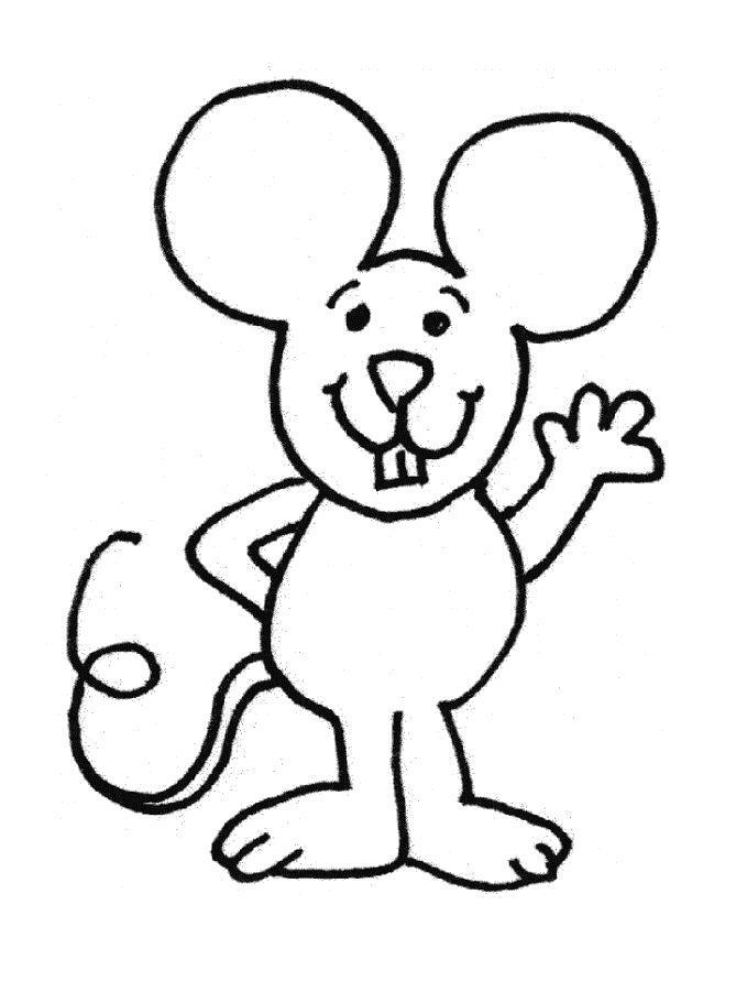 Раскраска Приветливый мышонок. Скачать .  Распечатать