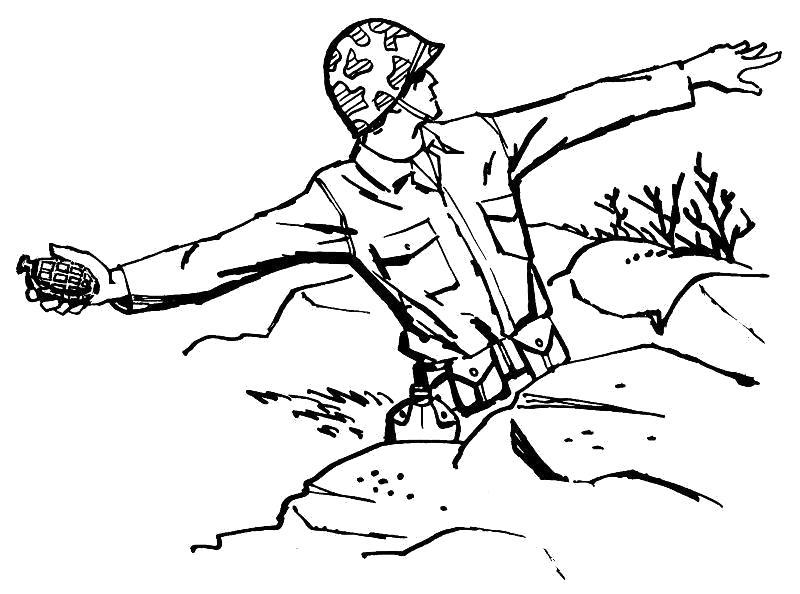 Раскраска Граната. Скачать Солдат.  Распечатать Солдат