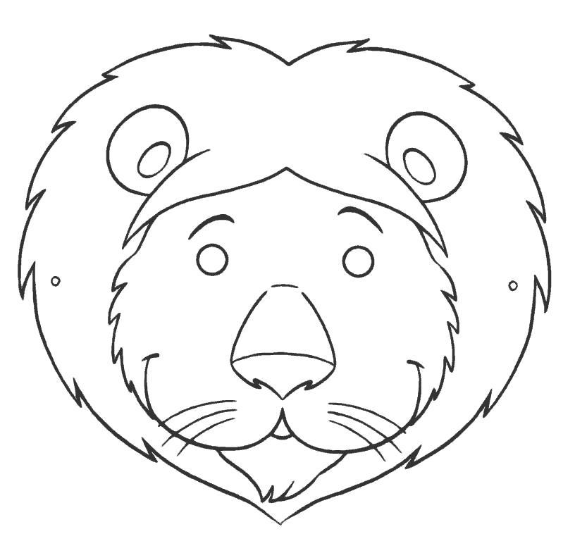 Раскраска маска лев. Скачать маски.  Распечатать маски