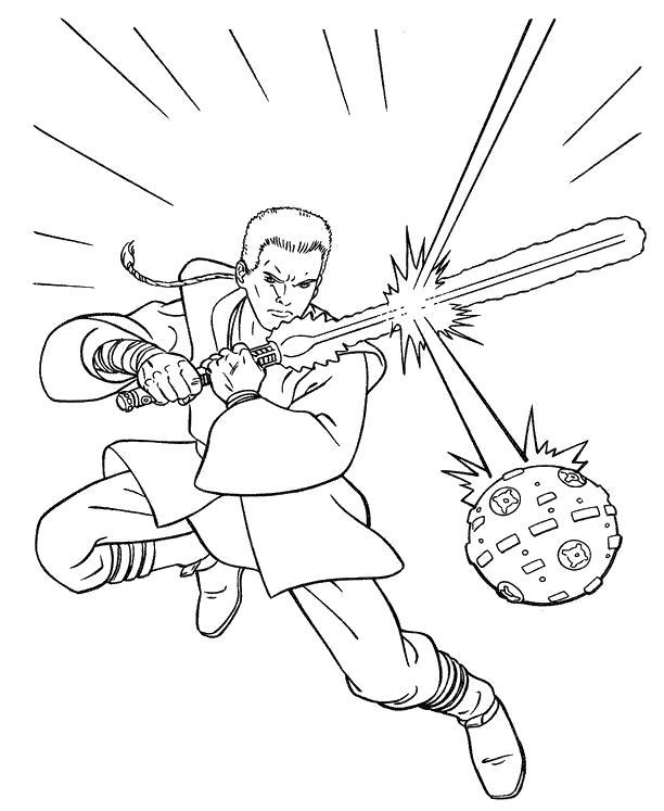 Раскраска люк тренируется с шаром. Скачать Звездные войны.  Распечатать Звездные войны