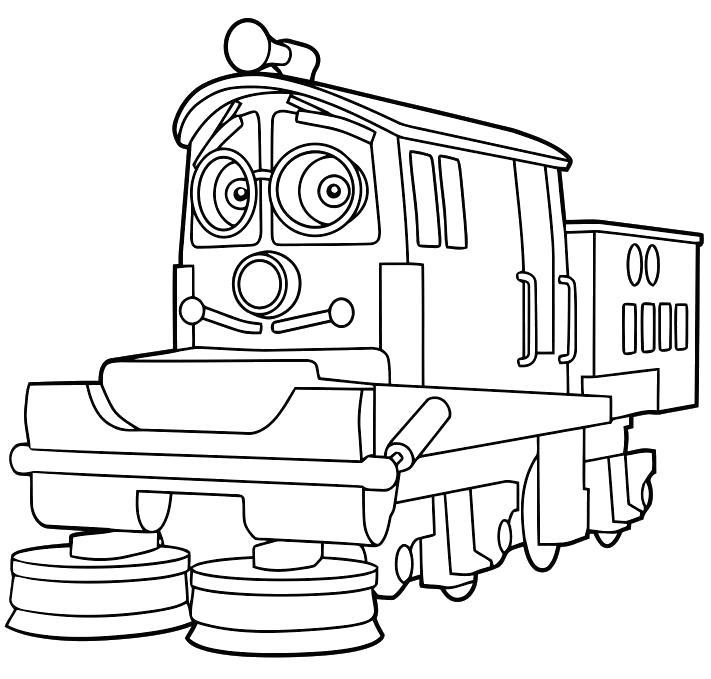 Раскраска Чаггингтон, паровозики, на ремонте. Скачать .  Распечатать