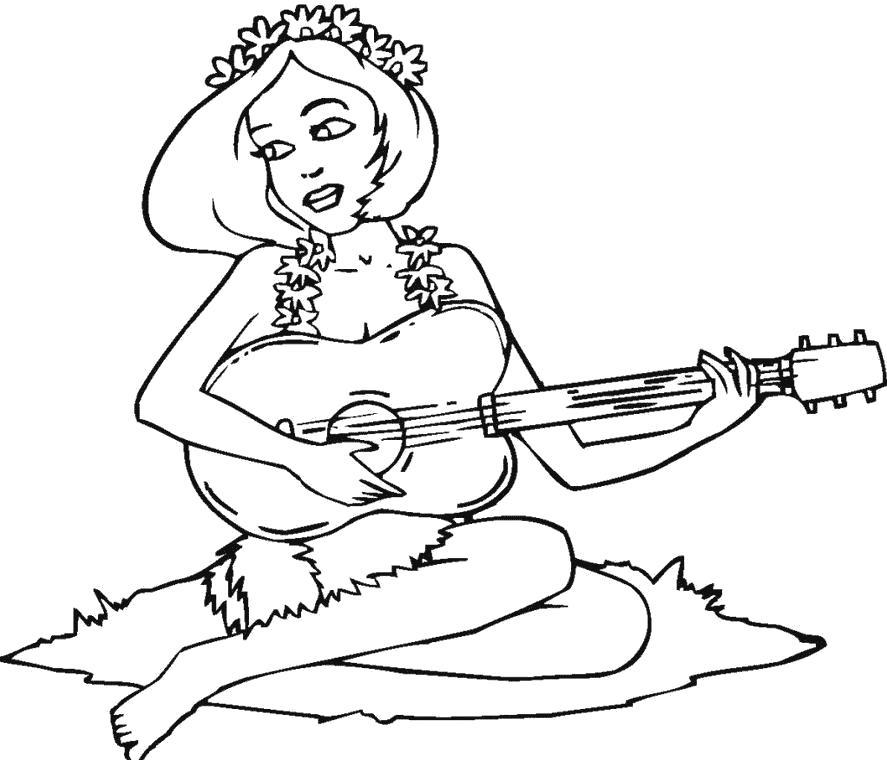 Раскраска Девушка с гитарой. Скачать Гитара.  Распечатать Гитара