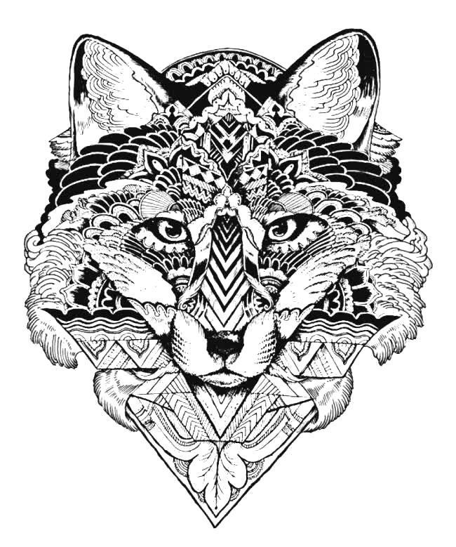 Раскраска Узорная голова волка. Скачать .  Распечатать